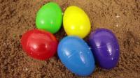 恐龙惊喜蛋车车库玩具 颜色沙 油漆玩儿童玩具视频 玩具动画 【 俊和他的玩具们 】