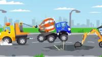儿童迷你工程车动漫: 水泥搅拌车掉进泥坑, 挖掘机吊车救援