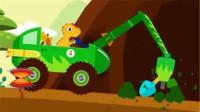 小恐龙开挖掘机山洞里寻找到好多美味的蘑菇 挖土机工作视频 挖掘机视频表演