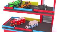 迷你工程车: 水泥搅拌车、消防车、推土机、急救车等乘升降梯到楼上停车