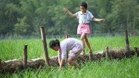 放假了,无聊的孩子,在田里捉个蝌蚪也能玩半天