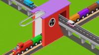 亮亮玩具汽车和火车动画学习英语, 婴幼儿宝宝教育游戏视频1075