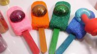 水气球冰淇淋金葱粘液胶学习颜色粘液组合 【 俊和他的玩具们 】