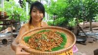 柬埔寨妹子真会吃, 将200只虫子放在锅里爆炒, 隔着屏幕都想吃!