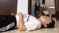 女主人假装晕倒, 德牧的反应让人大呼感动, 这狗没白养!
