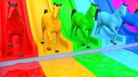 儿童学英语 公共汽车歌曲 颜色小猴子马水滑道 儿童玩具 【 俊和他的玩具们 】