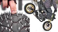 牛人在摩托车轮胎上扎钉子, 骑着雪地漂移, 交警让上路吗?