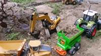 挖掘机工作太热 汪汪队立大功送来了美味的冰淇淋 挖掘机工地挖土装沙 挖掘机救援