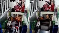 惊险!父子俩刚下电梯 台阶瞬间塌陷