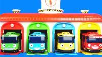 默默辛劳工作的巴士! TAYO泰路小巴士的停车库儿童玩具