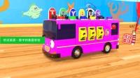 玩具大巴车装载着压路机装载机运水车 家中的美国学校