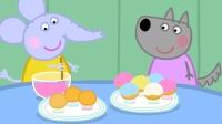 小狼温蒂和大象艾米丽在做漂亮的纸杯蛋糕, 这是给谁做的呢?