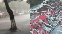 """重庆遭风雨""""扫街"""" 一工棚被刮倒成废墟"""