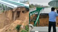 连日降雨 路基被冲垮无定河大桥发生坍塌