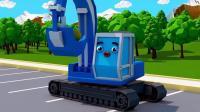 挖掘机帮助小卡车运输货物