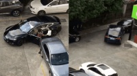 彪悍!两女司机起争执 停车场互撕驾车追撞