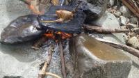原始技术——在岩石上烤鸡