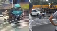 货车上货物掉落砸扁轿车 车内女司机身亡