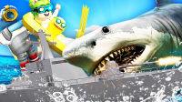 【屌德斯&小熙】 Roblox鲨鱼模拟器 战列舰大战巨齿鲨!
