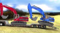 卡通挖掘机动画视频 三辆挖掘机同时工作挖蓄水池