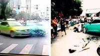 出租车违规掉头 跑车失控撞向行人致12伤