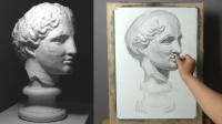 素描石膏像,第05部 - 完整版15分钟,巴特农素描视频