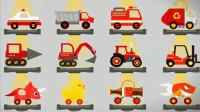 恐龙碰碰车 挖掘机 翻斗车 警车消防车 工程车联盟 精彩对决 陌上千雨解说
