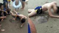 男子游泳被魔鬼鱼刺中 消防赶到剪断毒刺