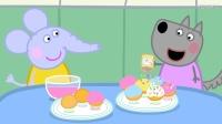 大象艾米丽和小狼温蒂拿着工具, 准备制作纸杯蛋糕