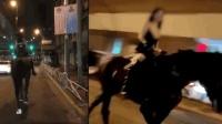吊带、皮裤  上海一女子夜晚骑马招摇过市  警方已介入调查