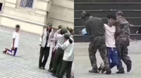 男生操场下跪挽回女友 被2名军训教官架走