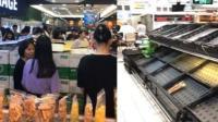 台风来袭市民扫空超市货架 外地学生:太恐怖