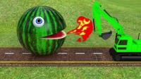 趣味益智动画片 大橙子大西瓜吃挖掘机