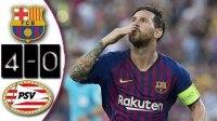 [11分钟集锦]欧冠-梅西帽子戏法登贝莱进球 巴萨4-0大胜埃因霍温