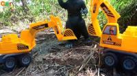 汽车挖掘机和怪兽哥斯拉玩具试玩, 婴幼儿宝宝游戏玩具视频H465