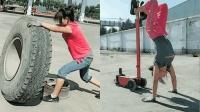 88斤美女徒手扒百斤轮胎动作娴熟 爆红网络