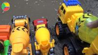 汽车挖掘机和搅拌车玩具试玩, 婴幼儿宝宝玩具游戏视频A274