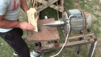 我在电机上装个阶梯钻, 制成电动劈柴机, 厉害吧