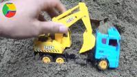 土里发现汽车挖掘机和公交车玩具, 婴幼儿宝宝玩具游戏视频A415