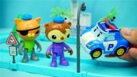 变形警车珀利的变形充电站玩具变形机器人