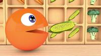 益智: 颜色启蒙, 吃豆人在蔬菜超市偷吃水果与警车一起搞怪识颜色学英语