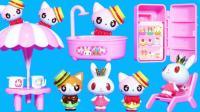超好玩的兔子形状巴士野餐车玩具