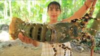 越南妹子煮一整只大龙虾吃, 有钱就是任性, 一只吃掉我半个月工资