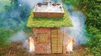 非常有创意的庇护所, 底部生火取暖, 顶部装水洗澡游泳