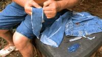 野外求生技能, 用牛仔裤的布摩擦取火, 既简单又省力