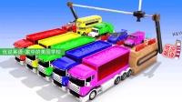 装满颜料的透明卡车与等待染色的汽车 家中的美国学校
