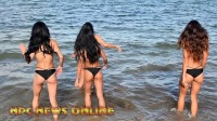 2018IFBB职业比基尼选手们在迈阿密海滩拍摄照片