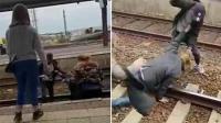 男子将15岁男孩推下火车站台 却被对方反杀暴揍