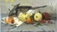 美术高考中色彩静物常考的一个题型不锈钢水果花等, 艾鹏校长完整示范(画室内部教学)