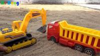 汽车挖掘机和工程车玩具试玩, 婴幼儿宝宝玩具游戏视频F47